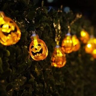 Halloween Copper Wire String Lights, Round Pumpkins, 8 Modes, Battery Powered