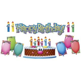 Eureka Mini Birthday Bulletin Board Set, 8 Panels, 26 x 6-1/2 Inches, 24 Pieces