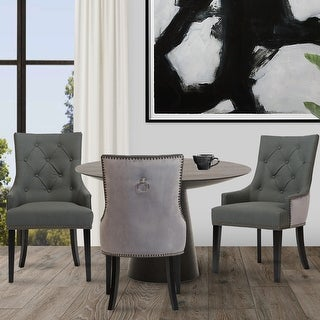 Chic Home Gilbert PU Leather and Velvet Dining Chair (Set of 2)