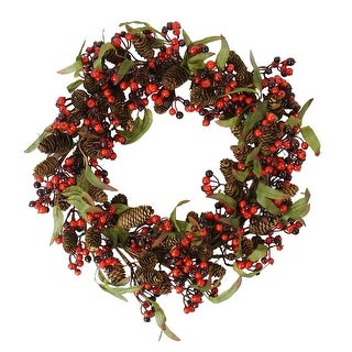 Red and Black Berry and Pine Cone Artificial Christmas Wreath - 20-Inch, Unlit