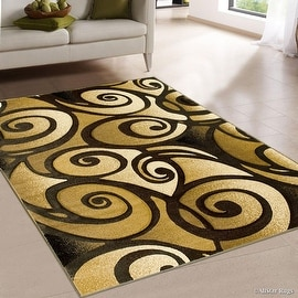 "AllStar Rugs Charcoal WovenHand Carved Evolution Swirl Design Area Rug (7' 9"" x 10' 5"")"