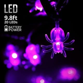 Halloween Copper Wire String Lights, Spider Pendants, 8 Modes