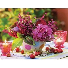 """LED Lighted Candles and Pink Floral Arrangement with Berries Canvas Wall Art 11.75"""" x 15.75"""""""