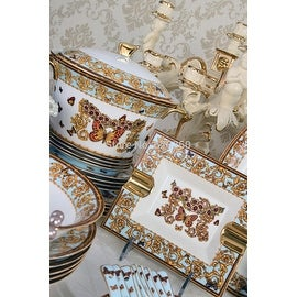 Luxury Design European Royal Butterfly Bone China Dinnerware Set 69 piece