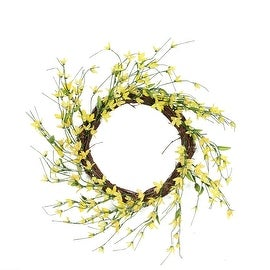 "12"" Yellow Green and Brown Decorative Artificial Spring Floral Twig Wreath - Unlit"
