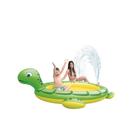 """214"""" Green and Yellow Inflatable Sea Turtle Children's Spray Pool"""