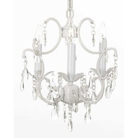 "WHITE CHANDELIER WROUGHT IRON CRYSTAL CHANDELIERS H14"" W11""."