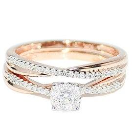 1/4cttw Diamond Bridal Set 10K Rose Gold Engagement Ring And Band Set( 0.25cttw)