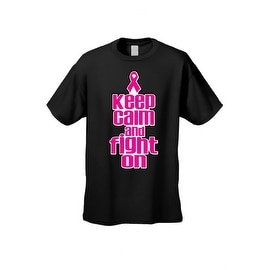 Unisex T Shirt Keep Calm & Fight On Breast Cancer Support Awareness Pink Ribbon