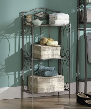 Metal decorative bathroom shelving with bathroom supplies