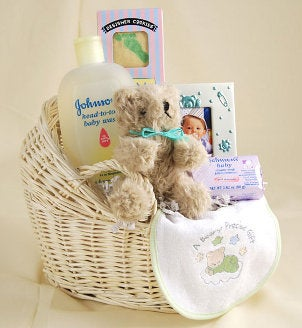 Babies Gifts on Ribbon Basket Lining Large Baby Gifts Small Baby Gifts Mother Gifts