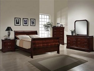 Bedroom with cherry bedroom set