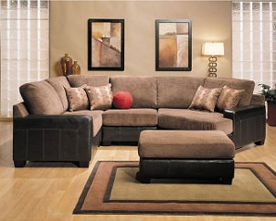 Brown sectional sofa and ottoman