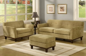 Ottoman with matching sofa and loveseat