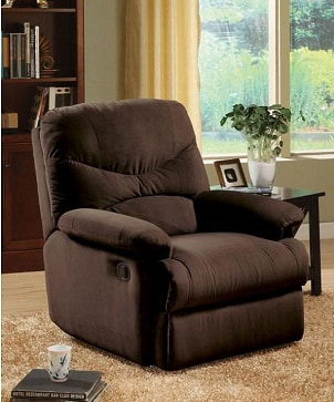 Microfiber recliner in a living room