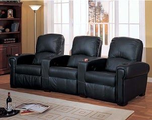 Black leather theater chairs