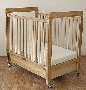 Wood baby crib and mattress
