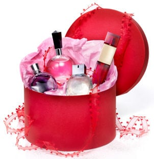 Gift basket filled with perfume