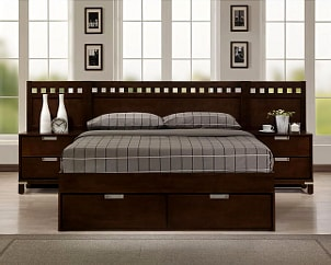 Platform bed with matching nightstands
