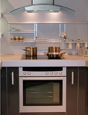 Electric Range with a glass range hood
