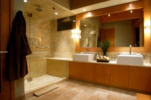 A modern bathroom with pristine floors