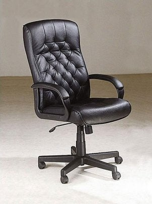 Black leather office chair in an office
