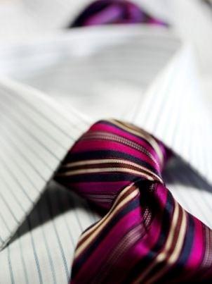 Closeup of a silk tie a man is wearing