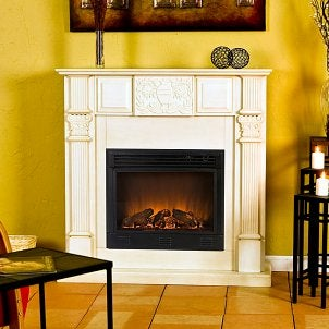 White indoor fireplace complements mustard-colored walls