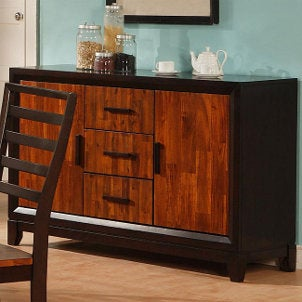 A classy wood dining buffet table