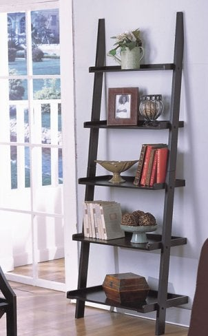 A well-decorated ladder shelf