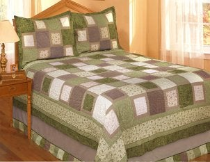 Green patchwork cal king quilt