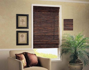 Brown window blinds dress up living room window