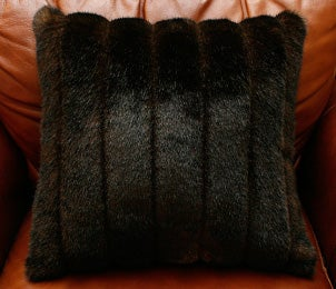 Faux mink throw pillow