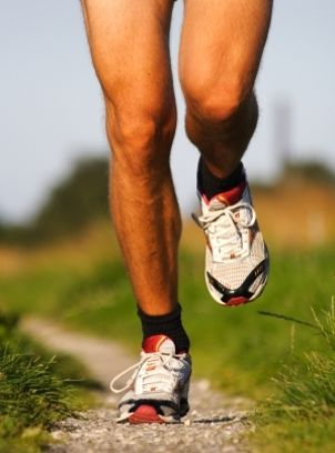 Man wearing running shoes for trail running