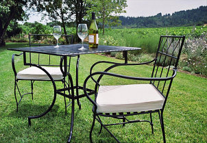 Iron bistro table and chairs