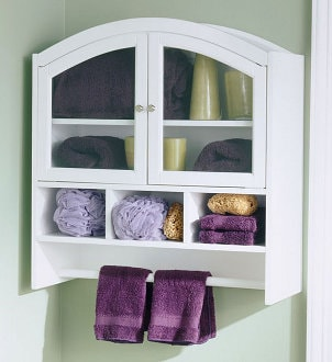 Bathroom cabinet filled with towels