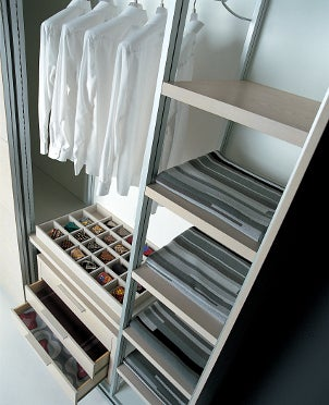Closet storage racks with drawers and shelves