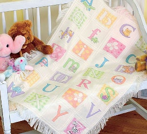 Beautiful alphabet baby blanket quilt