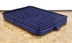Blue, pillow-top air mattress