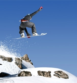 Snowboarder getting some air