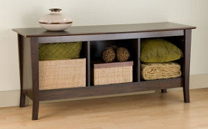 Entryway bench with storage cubbies
