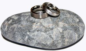 A set of titanium wedding bands