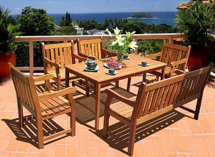 Wooden patio dining set
