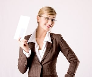 Businesswoman holding a business envelope