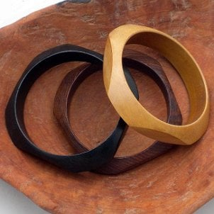 Three handmade wood bangle bracelets