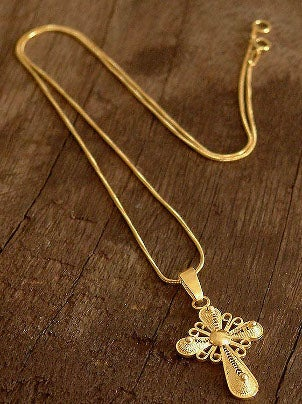 Beautiful gold cross necklace
