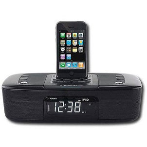 Black stereo with an iPod dock