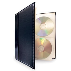 CDs stored in a black leather CD case