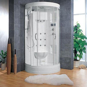 Luxury bathroom with a round steam shower