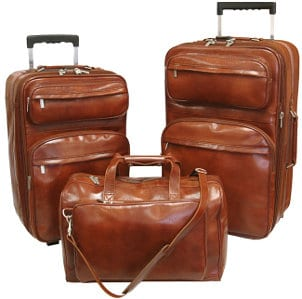 Cognac leather luggage set
